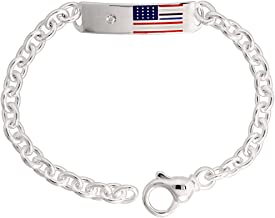 Sterling Silver ID Bracelet American Flag Heavy, 3/8 inch wide, 9 inch