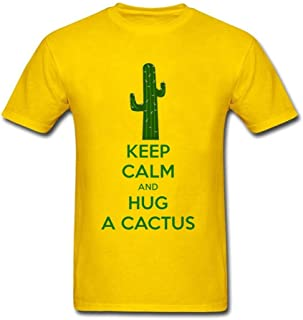 Twentees Printed Graphic Men Keep Calm and Love Cactus T Shirt Cotton