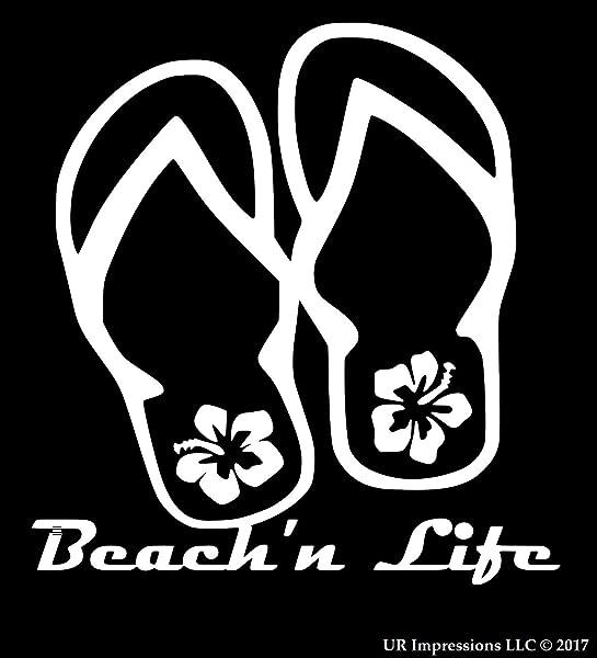 UR Impressions Beach N Life Hibiscus Flip Flop Decal Vinyl Sticker Graphics For Cars Trucks SUV Vans Walls Windows Laptop White 5 5 Inch URI478 W