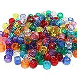 Beads Unlimited transparent Kunststoff Barrel Pony, klar, 6x 8mm P, Plastik, Mix, 6 x 8 mm