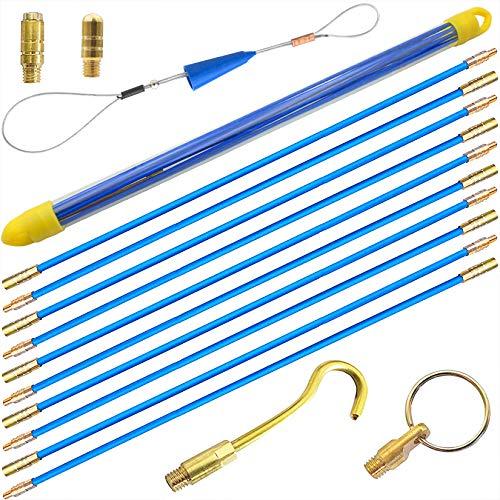Akuoly Kabel-Einziehstangensatz Einziehband Einziehdraht Einziehspirale mit Führungsfeder Einziehhilfen zur Kabelverlegung und 6-teilig,10 Stück x 50cm, Blau