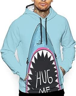 Mens Hug Me Funny Shark Pullover Hoodie 3D Print Graphic Sweatshirts Hooded Shirts Pockets