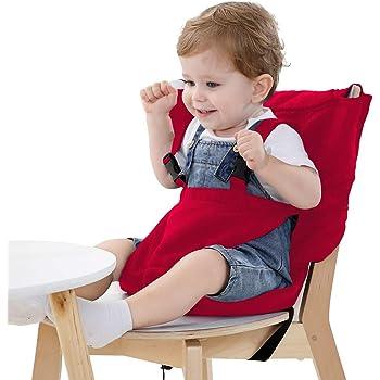 Vine ベビーチェアベル 収納ポケット付きチェアベルト 携帯便利 調整できる 幼児旅行の安全 赤い