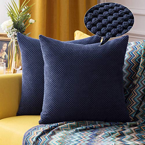 MIULEE Corduroy Granule Throw Pillow Covers Soft Pellets Solid Decorative Square Cushion Case for Sofa Bedroom Navy 16'x16'2 Pieces