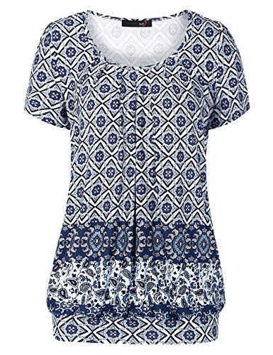 DJT FASHION Damen Casual Falten Kurzarm T-Shirt Kurzarmshirt Rundhals Stretch Tunika, XL, Blau Blumen