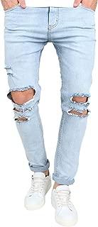 OKilr Pjik Men's Vintage Skinny Fit Destroyed Cotton Denim Jeans with Knee Open Rips