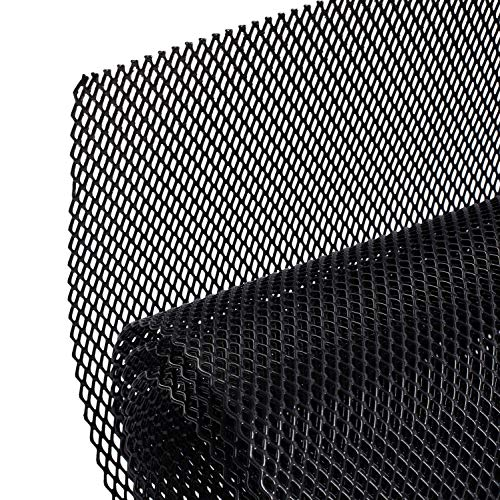 """AggAuto Universal 40""""x13"""" Car Grill Mesh - Aluminum Alloy Automotive Grille Insert Bumper Rhombic Hole 3x6mm, One of the Most Multifunctional Shape Grids Black"""