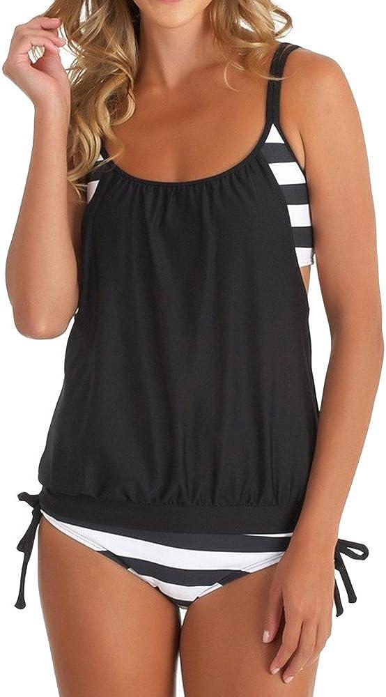 ZDFER Plus Size Swimsuits for Women Two Piece Bathing Suits Striped Swimwear Halter Beachwear Summer Bottom Bikini Set
