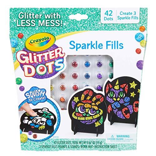 Crayola Glitter Dots, Glitter Art Mosaics, Gift for Kids, 5, 6, 7, 8, Glitter Fills,count of 58