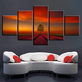 TYUIOP Living room modern home decoration picture artwork 5 pieces tree sunset landscape poster canvas oil painting modula...