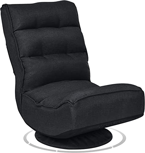 2021 Giantex 360 Degree Swivel Gaming Chair, outlet online sale 5-Position Adjustable Folding high quality Floor Chair, 300lb Spring Support, Comfortable Padded Backrest, Lazy Sofa Chair Game Rocker for Teens Adults (Black) outlet online sale