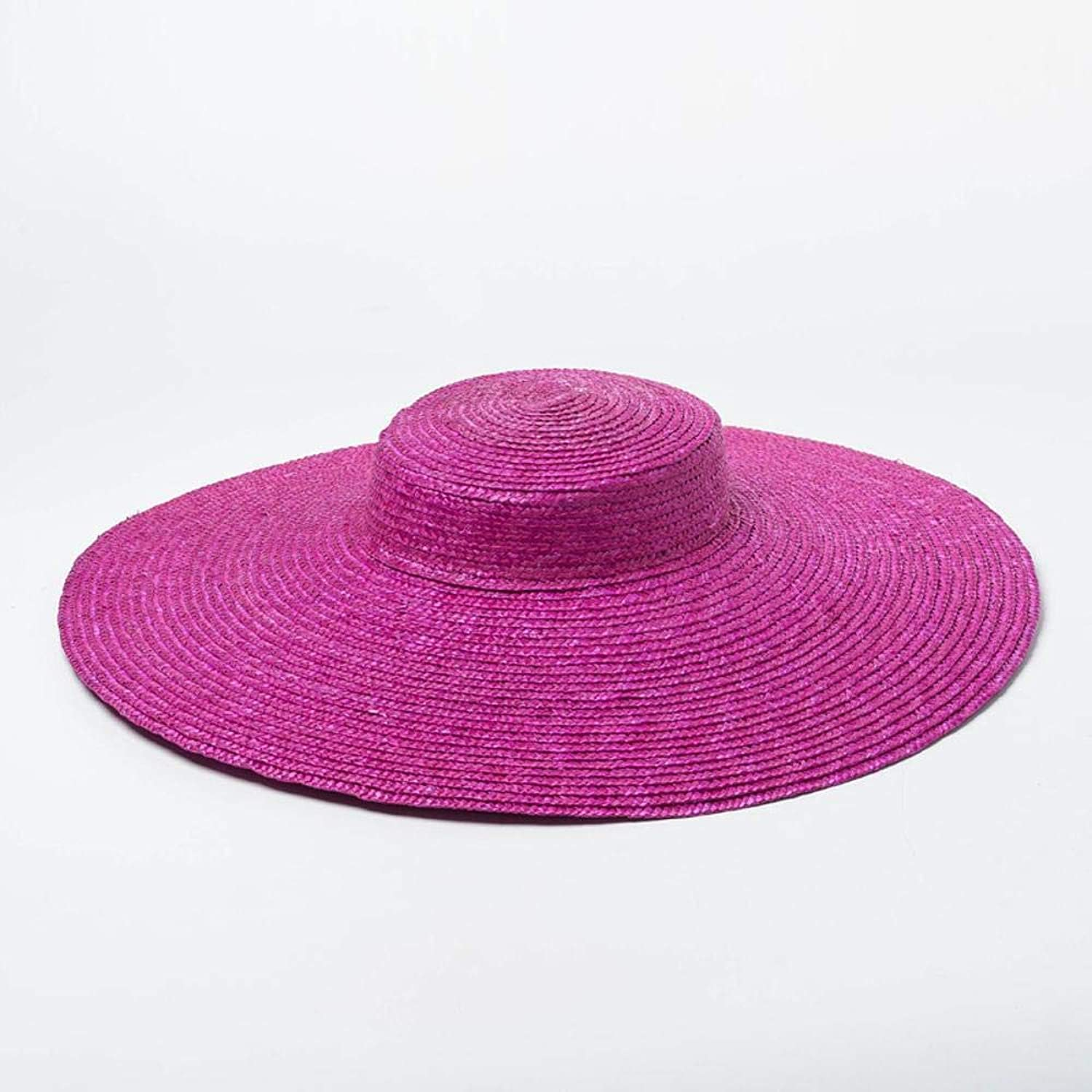 TtKj Lady Straw Hat Europe and America Simple Fashion Meticulous Straw Shallow Flat Cap Sun Visor Beach Big Eaves Straw Hat Walking Show Hat