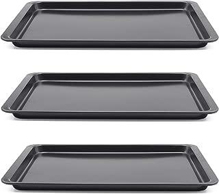 Carbon Steel Baking Sheet, Set of 3 Non-Stick Cookie Sheet Baking Pans, 10