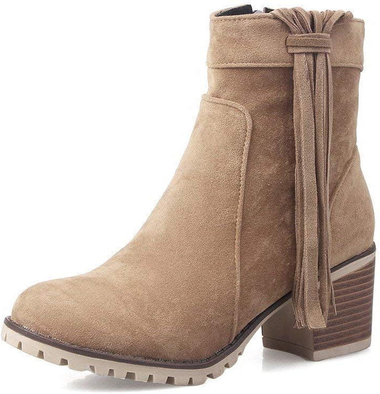 PRETTYHOMEL Women's Zipper Kitten-Heels Imitated Suede Solid Low-top Boots