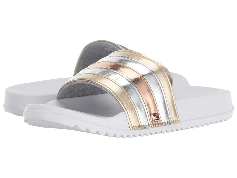Tommy Hilfiger Kids Remy Rainbow 2 Slide (Little Kid/Big Kid) (White Metallic) Girl