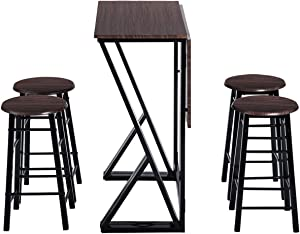 Harper & Bright Designs 5 Pieces Drop Leaf Dining Table Set, Counter Height Bar Table with 4 Stackable Round Bar Stools for Kitchen Dining Room Coffee Breakfast (Dark Coffee)
