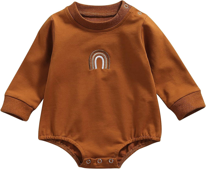 Madjtlqy Newborn Baby Boy Girl Long Sleeve Romper Letter Oversized Sweatshirts Cute Bodysuits Unisex Fall Winter Clothes