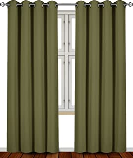 Utopia Bedding Blackout Room Darkening and Thermal Insulating Window Curtains/Panels/Drapes - 2 Panels Set - 8 Grommets per Panel - 2 Tie Backs Included (Olive, 52 x 84 Inches with Grommets)