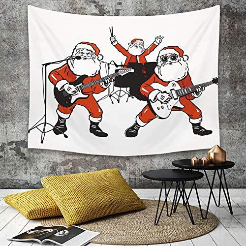 Landschaft Tapisserie Dekoration für Schlafzimmer Wohnzimmer,Witzig, Santa Claus Rock Band spielt Schlagzeug Gitarre Weihnachtsmann Show Print Dekorativ, Ora,Strandtuch, Wanddekoration, Wandbehang