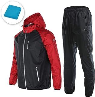 サウナスーツ ダイエット メンズ 上下 3点 セット ウェア トレーニングウェア 大量発汗 燃焼サポート フード付き ジョギング ウォーキング ボクシング スポーツタオル付