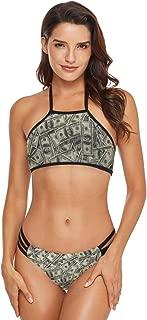 Dollar Money Pattern Womens Bikini Set Halter Tie Crochet Thong Brazilian Triangle