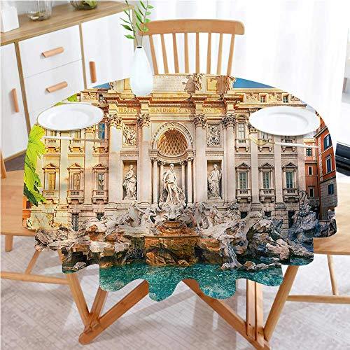 RenteriaDecor Italy Picnic Cloth Round Tablecloth D 54 Inch Fountain Di Trevi Tourist