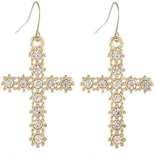 Nueva. Un cristal claro y plata//Diamante Cruz Collar Y Clip en Pendiente Conjunto
