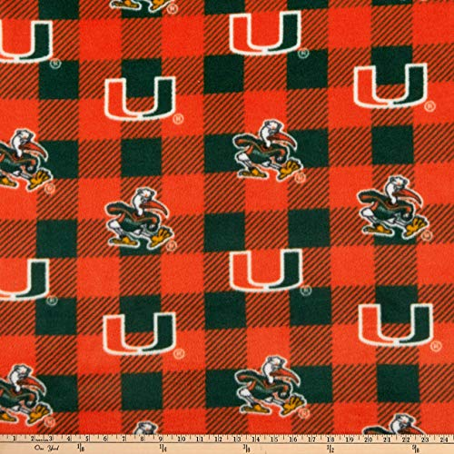 NCAA Miami Hurricanes Buffalo Plaid Fleece, Fabric by the Yard