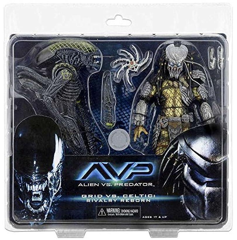 NECA Aliens vs. Predator AvP Celtic Predator & Battle Damaged Grid Alien