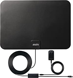 ANTV Indoor TV Antenna, 50 Mile Long Range Amplified HDTV Antenna Build in Amplifier Signal Booster, Ideal Design for Both Digital and Analog Free TV Channel Reception, 10 Feet Coaxial Cable,1-Pack
