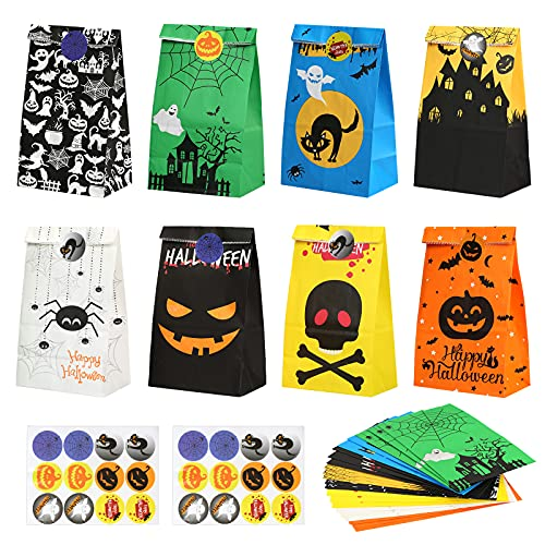 SEELOK 24pcs Halloween Paper Bags Colorful Trick or Treat Candy Bag Halloween Treat Paper Pouch with 24pcs Halloween Sealed Stickers for Kids Halloween Party Favor