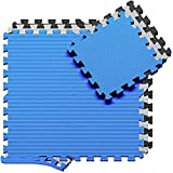 Esterilla Puzzle para Suelos de Gimnasio y Fitness | Set de Protección de Goma Espuma, Alfombrilla Protectora Expandible de 18 Losas + Bordes | Colchonetas para Máquinas de Deporte, Fácil de Limpia