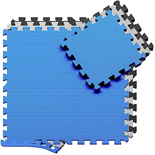 Esterilla Puzzle para Suelos de Gimnasio y Fitness | Set de Protección de Goma Espuma, Alfombrilla Protectora Expandible + Bordes | Colchonetas para Máquinas de Deporte, Fácil de Limpia