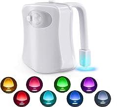 Toilet Nachtlampje, Bewegingssensor LED Nachtlampjes, Twee modi met 8 Kleuren Veranderende Toilet Bowl Nachtlampje voor Ba...