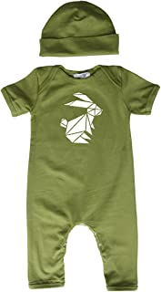 Origami Bunny Baby Romper with Matching Headband/Hat