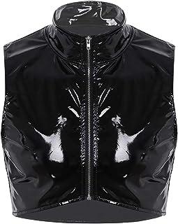 (フィーショー)FEESHOW メンズ タンクトップ フェイクレザー ノースリーブ ジッパー付き 筋肉シャツ ショート ベスト ナイトクラブ 風 Tシャツ ショート丈