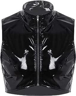 iEFiEL Men Wet Look Patent Leather Stand Collar Long Sleeve/Sleeveless T-Shirt Tops Metallic Front Zipper Jacket Coat