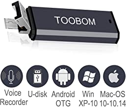 Mini USB Voice Recorder for Lectures,TOOBOM USB and Micro USB 2 in 1 Digital Audio Recorder 8GB Mac Compatible and Android OTG Metal Body Small USB Dictaphone Recording Device,USB Rechargeable