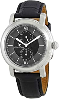 Men's 'Spiga' Quartz Stainless Steel and Black Leather Casual Watch (Model: LP-40026-01)