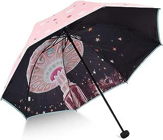Sun Protection UV Ladies Umbrellas Umbrella Umbrellas Portable Folding Umbrellas HYBKY (Color : Pink)