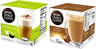 NESCAFÉ Dolce Gusto Coffee Capsules Variety Pack of Cappucino and Cafe Au Lait - 32 Pods, Makes 16 Cups Total