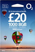 UK PrePaid O2 SIM Card to use in England, Scotland, Wales, Northern Ireland, Holiday SIM/Roaming SIM inc Data, Minutes to Call UK, US & Other International Numbers (8GB Data - 1000 Minutes)