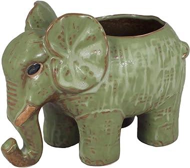 Dahlia Adorable Elephant Handmade Ceramic Succulent Planter/Plant Pot/Flower Pot, Father