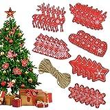 FAVENGO 30 Pcs Adornos Navideños de Madera Decoracion Navideña en Madera Adornos Madera Navidad Decoracion Madera Etiquetas Regalo para Decorar el Arbol de Navidad y Regalo + 1x 10m Cuerda de Yute