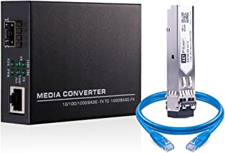 Gigabit Ethernet SFP Fiber Media Converter, Including 1Gb SFP Transceiver LC Multimode 550m,1000Base-SX to 10/100/1000 RJ45, with a Free UTP Cat6 Patch Cord