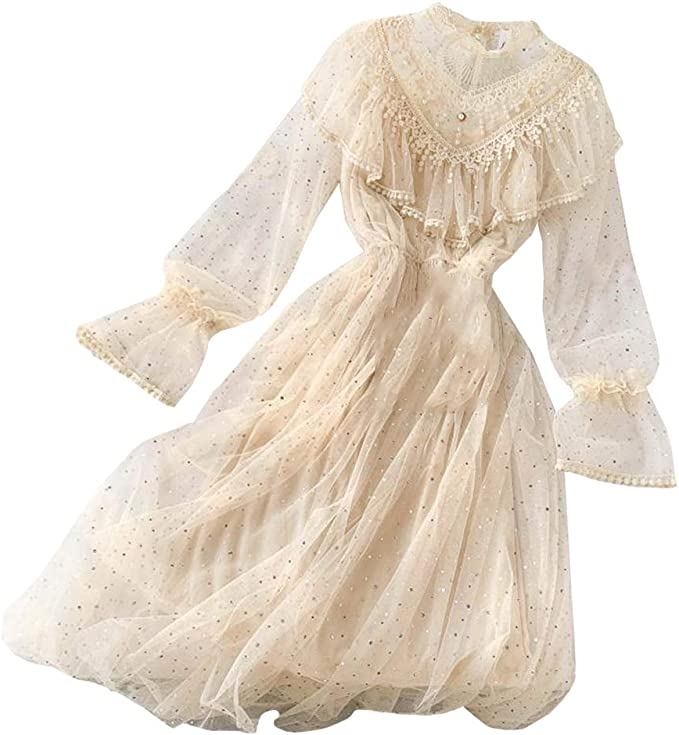 1980s Clothing, Fashion | 80s Style Clothes Women Hollow Out Puff Sleeve Floral Embroidery Lace Mesh Dress for Casual Wedding Cocktail Party $30.99 AT vintagedancer.com