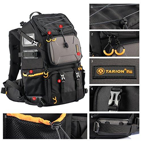 TARION Kamerarucksack Fotorucksack Groß 2-in-1 mit Extra Kameratasche für Spiegelreflex D-SLR(25 Liter, Schwarz)