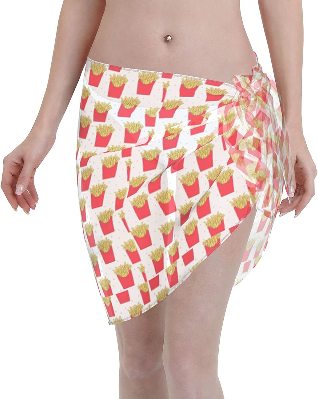 Rniom French Fries Women Chiffon Beach Short Sarongs Cover Ups Beach Swimwear Wrap Skirt for Vocation Black