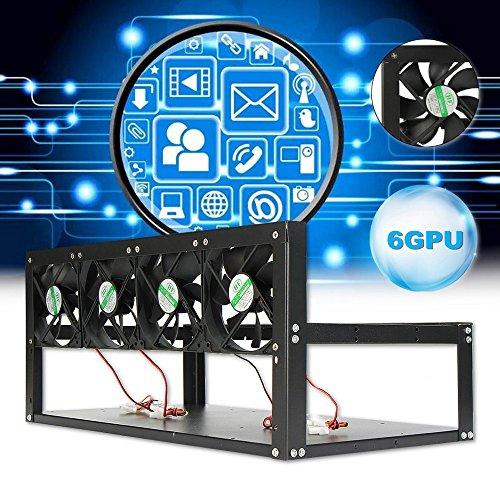 Open Air Mining Rahmen,Kingko® Montagerahmen Rig Case,6 GPU 4 Fans Stahl Münze Open Air Bergbau Rahmen Rig Fall BTC ETH Ethereum Miner (4 Fans)