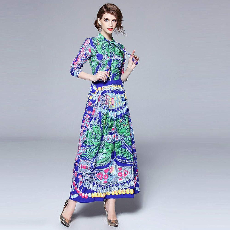 Cxlyq Dresses Vintage Garden Print Collar Large Swing Dress